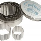 Ateco 5201 Fluted Edge Hexagon Cutters in Graduated Fluted Edge Hexagon Set