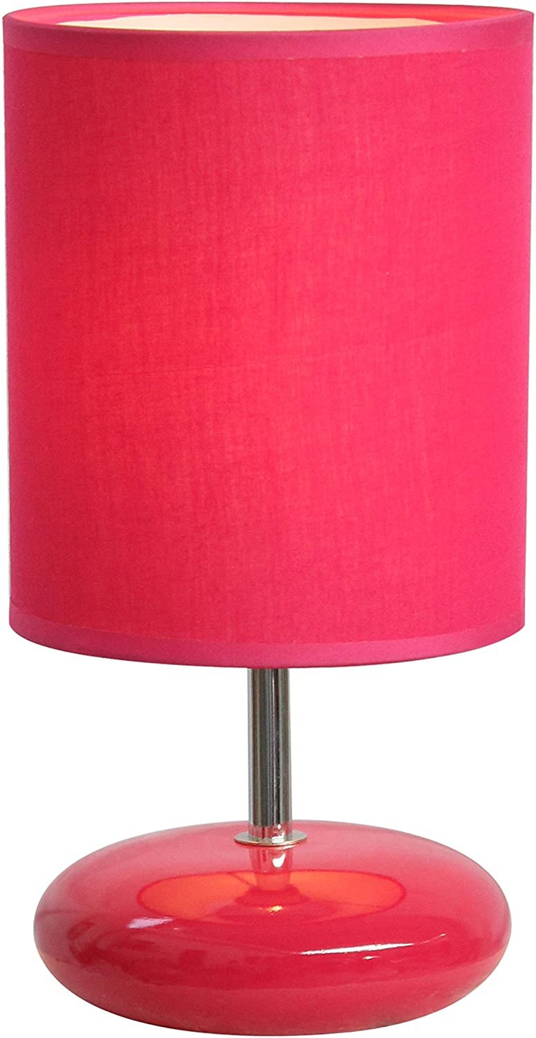 Simple Designs LT2005-PNK Stonies Small Stone Look Bedside Table Lamp, Pink