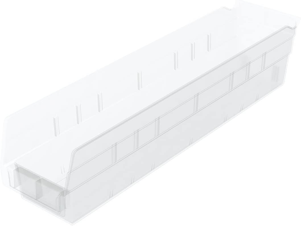 Akro-Mils 30128 Plastic Nesting Shelf Bin Box, (18-Inch x 4-Inch x 4 Clear