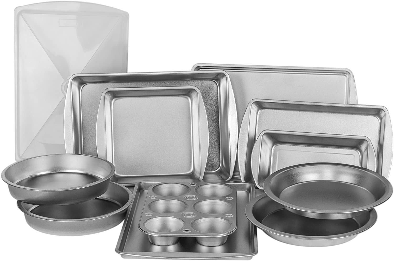 EZ Baker Uncoated, Durable Steel Construction 12-Piece Bakeware Set - Natural