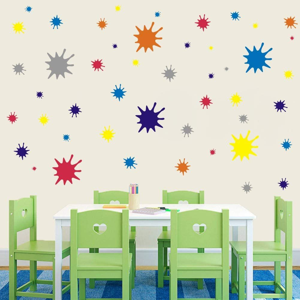 Paint Splatter and Splotches Wall Decal, Abstract Dots Wall Sticker for Art