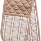 DII CAMZ38395 Cotton Stripe Quilted Double Oven Double Oven Mitt Stone Taupe