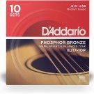 D'Addario EJ17 Phosphor Bronze Acoustic Guitar Strings, Medium, 13-56 10-Pack