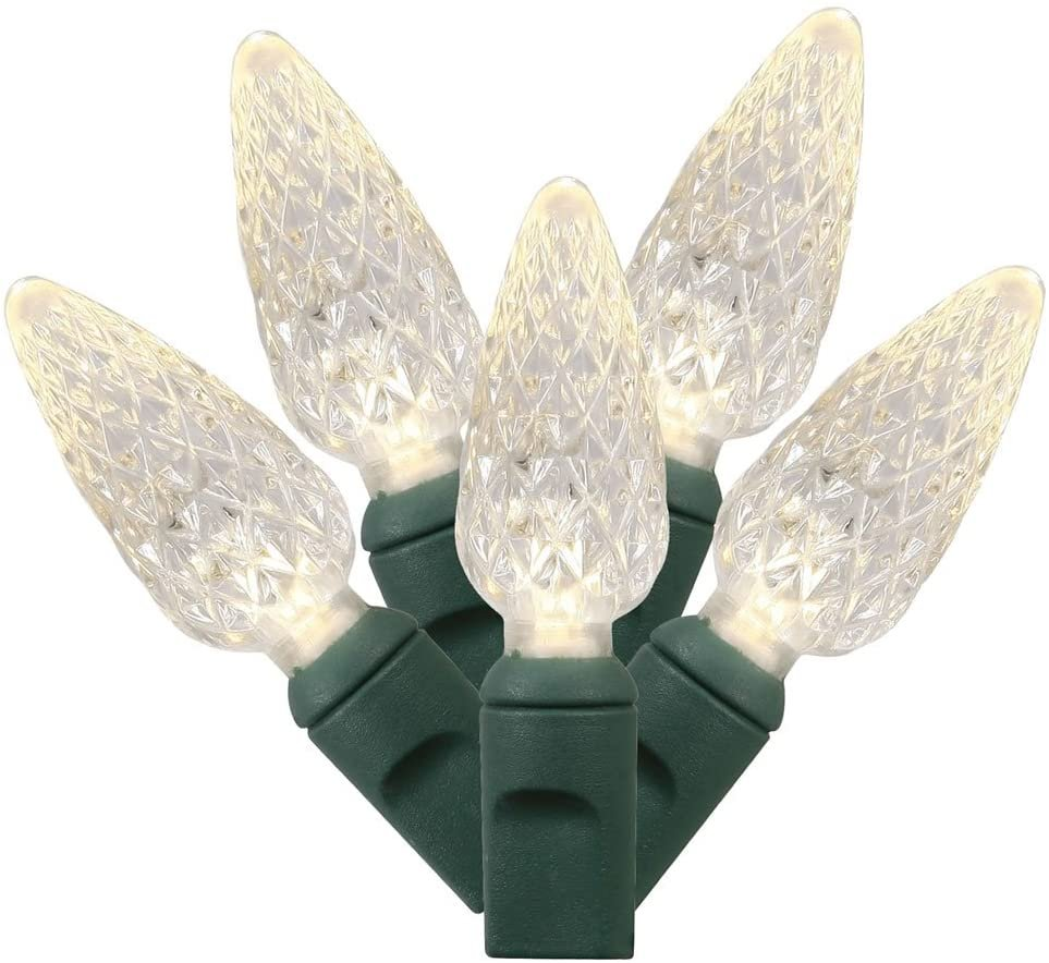 Vickerman 50 Light Warm White C6 LED Light Set on Green Wire in a Poly Bag