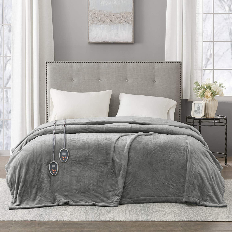 Heated Plush Blanket Grey Twin Twin Grey