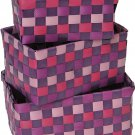EVIDECO 8402170 Checkered Woven Strap Storage Baskets Totes Set of 3 Purple