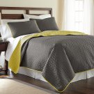 Amrapur Overseas Leaf Solid Reversible Quilted 3-piece King Steel Grey/Bamboo