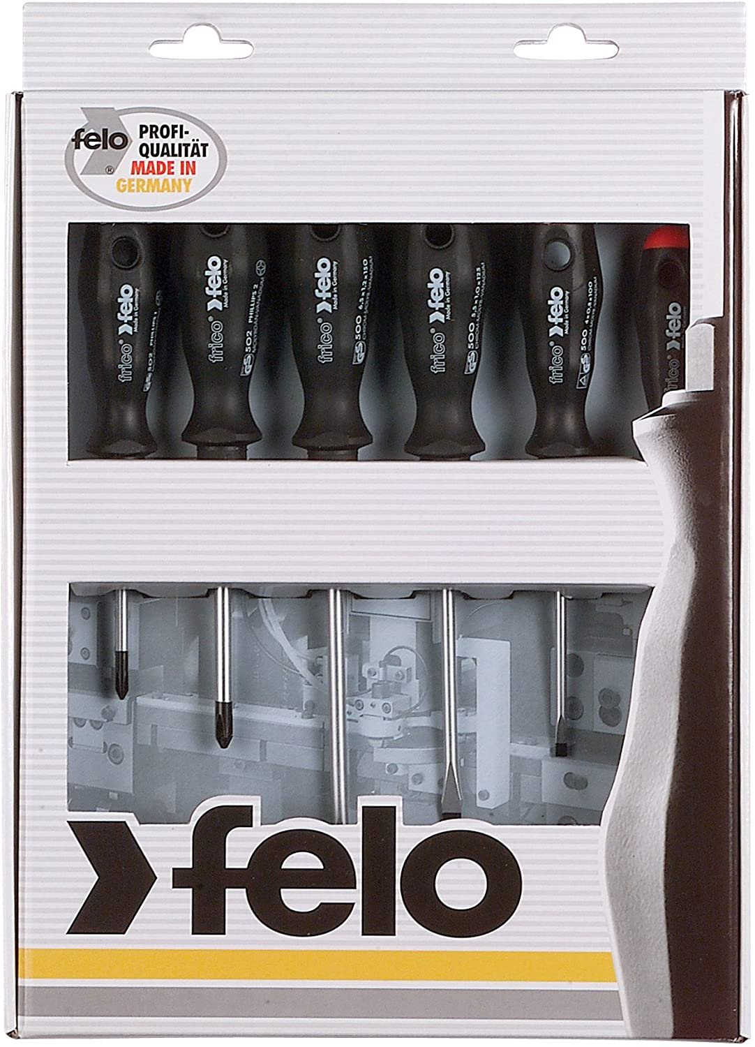 Felo 0715750174 Set of 6 Slotted & Phillips Screwdrivers, 500 Series