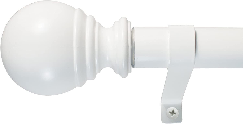 Decopolitan Ball Single Telescoping Drapery Rod Set, 36-72 36 to 72-Inch White