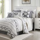 HiEnd Accents Free Spirit Bohemian Aztec Bedding Set, Full, Gray/White 4 PC Full