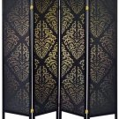 Coaster Home Furnishings 4-Panel Folding Floor Screen Black Damask