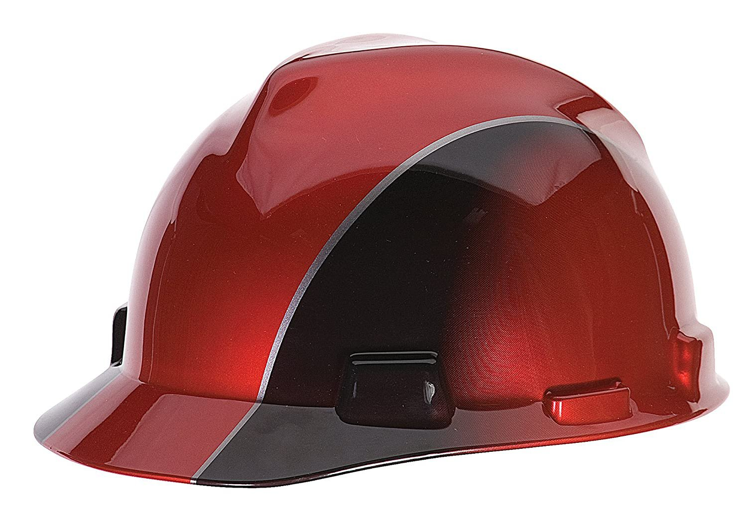 MSA 10101535 V-Gard Freedom Series Cap Slotted Protective Helmet, Red and Black Rally, Standard