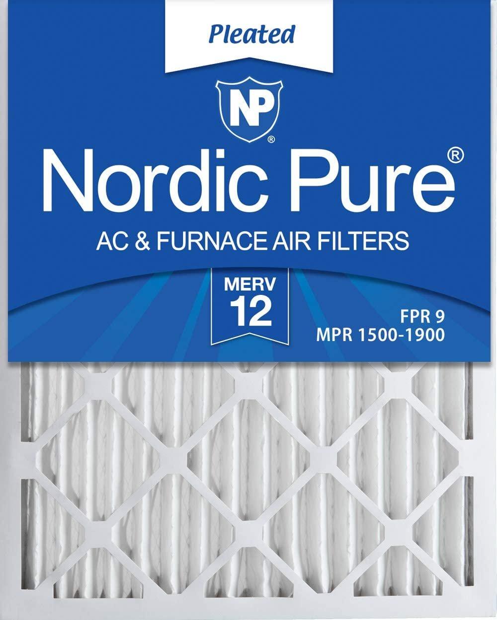 Nordic Pure 20x25x2 MERV 12 Pleated AC Furnace Air Filters 3 3 PACK MERV 12
