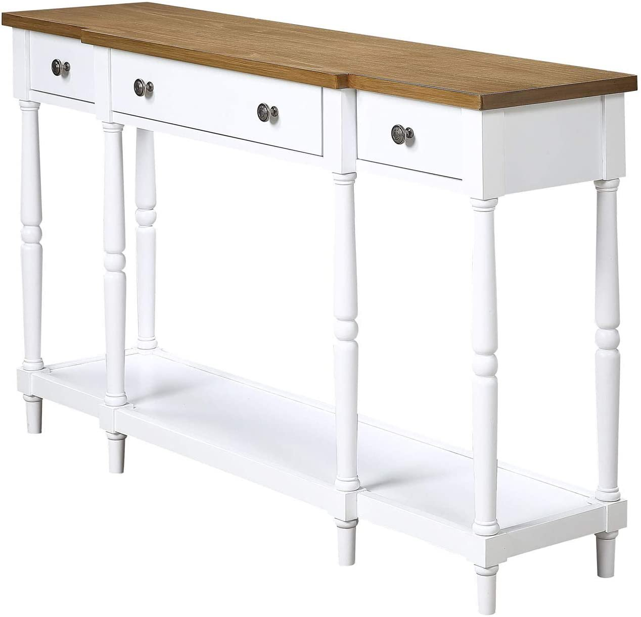 Convenience Concepts Cheyenne Console Table, Driftwood / White Driftwood / White