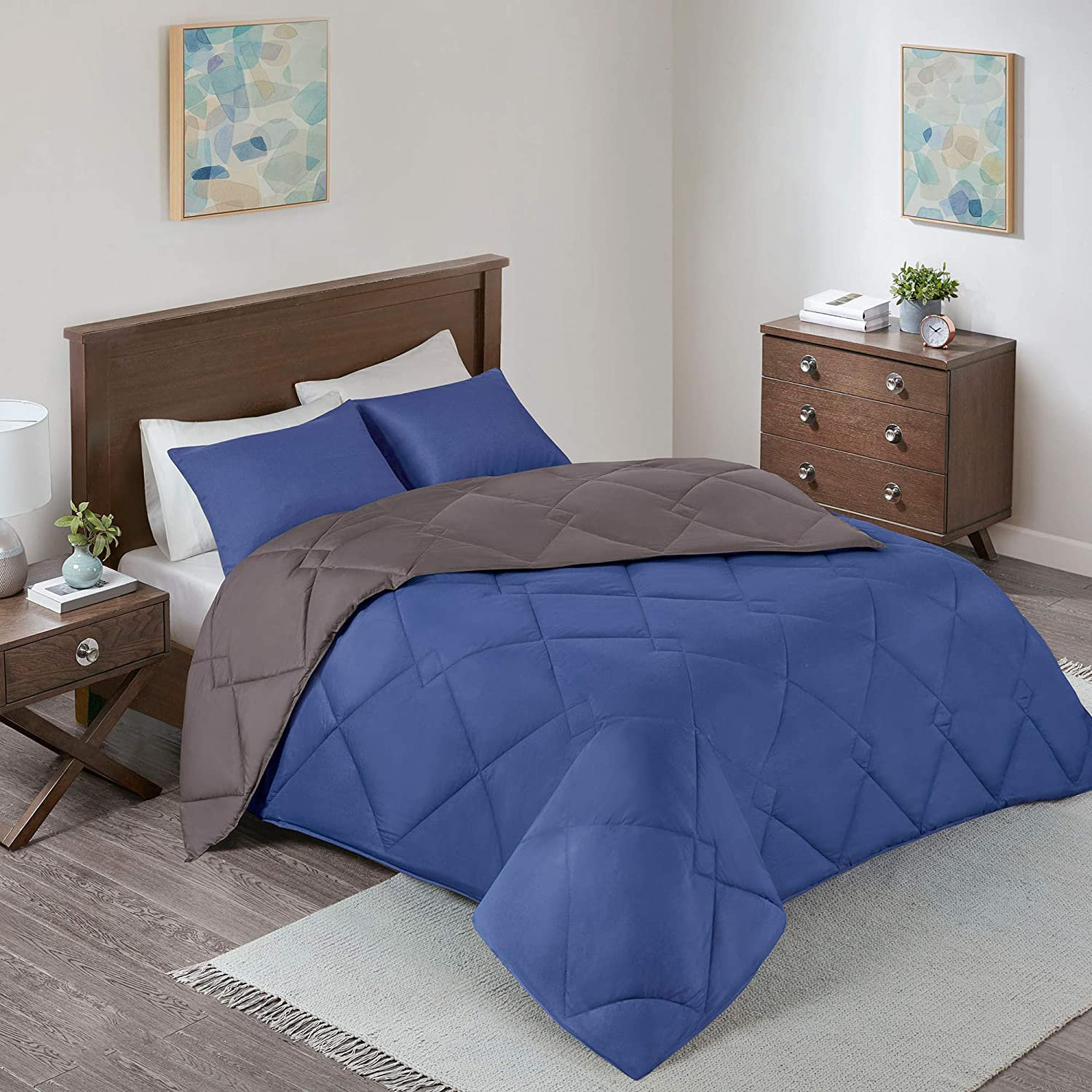 Comfort Spaces Vixie 2 Piece Comforter Set All Twin/Twin XL Navy/Charcoal
