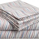 Pointehaven Heavy Weight Printed Flannel Sheet Set, Twin, Metro Stripe
