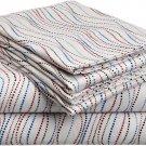 Pointehaven Heavy Weight Printed Flannel Sheet Set, Twin, Metro Stripe