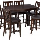 Furniture of America Anlow 7-Piece Counter Height Table Set with 16-Inch Leaf, E