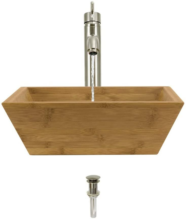 891 Bamboo Vessel Sink Brushed Nickel Bathroom Ensemble with 718 Vessel Faucet