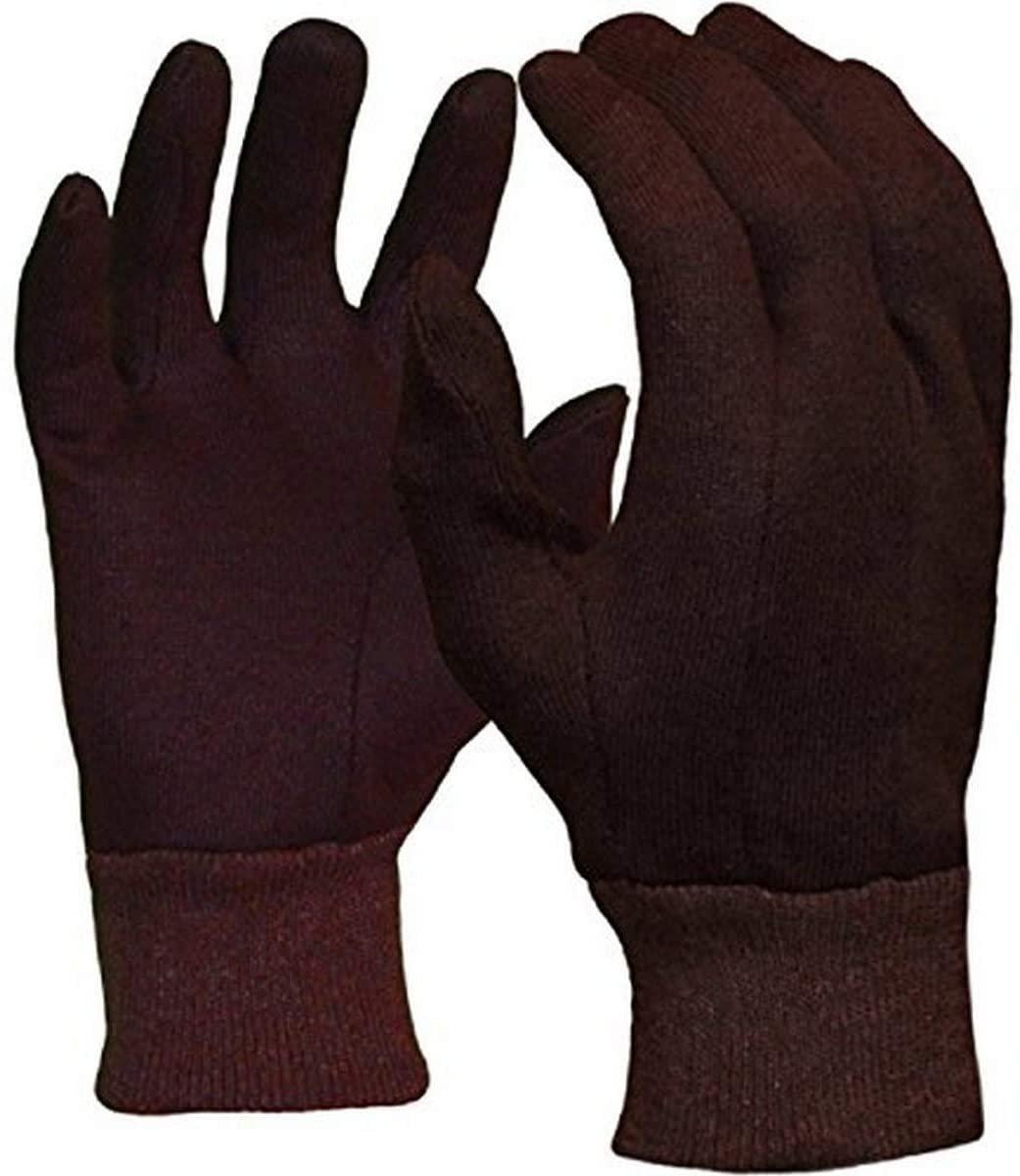 Azusa Safety C47100 Polyester/Cotton Safety Work Gloves, Brown Jersey Gloves, La