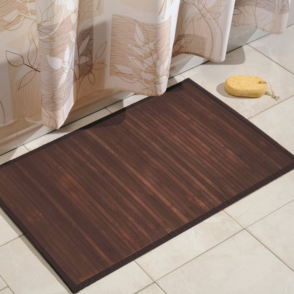 iDesign Formbu Bamboo Floor Mat Non-Skid, Water-Resistant Runner Rug for Bathroo