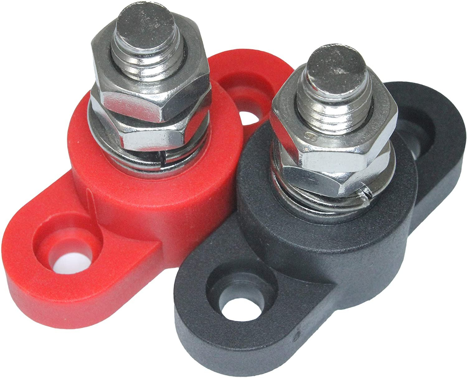 Positive Insulated Battery Power Junction Post Block 3/8 Lug X 16 thread (Red & Black Set)