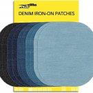 ZEFFFKA Premium Quality Denim Iron on Jean Patches No-Sew Shades of Blue Black 1