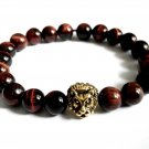 Double Stretch Men Btacelet Male Elastic Natural Red Brown Tiger Eye Beads 4075B