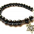 Bracelet Men Black Gray Hematite Beads Charm Pendant Magen David