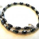 Men Male Necklace Gray-Black Hematite Tibetan Silver Beads Biker Rocker 4026