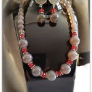 Necklace Set Women Earrings Agate Gemstone Beads Red Crystal 4256