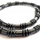 Men's Necklace Black-Gray Magnetic Hematite Natural Stone Necklace Beaded 4042M