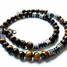 Necklace Men Male Natural Stone Tibetan Beads Tiger Eye Hematite 4071