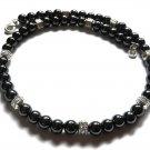 Men Necklace Gray-Black Hematite Tibetan Silver Beads Biker Rocker Neckless 4029