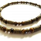 Necklace Men Choker Stone Tiger Eye Brown Bronze Beads Free Shipping 4021