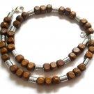 Men Necklace Thread Choker Wood Brown Beads Biker Rocker Tibetan Silver 4025