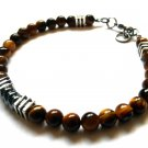 Bracelet Men Male Natural Stone Beads Jasper Tiger Eye Hematite Tibetan Silver