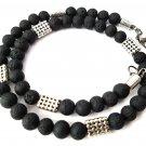 Necklace Men Male Choker GemStone Matte Black Hematite Tiger Eye Lava Beads 4054