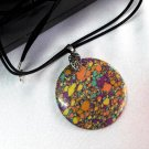 Pendant Women Necklace Leather Cord Natural Gemstone Multicolor Turquoise 1391