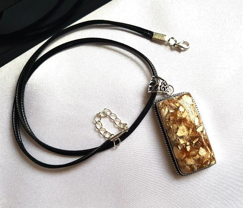 Pendant Natural Stone Leather Cord Frame Breciated Mookaite Brown Free Shipping