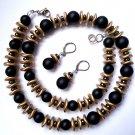 Necklace Set Earrings Women Natural Gemstone Black Onyx Gold Gray Czech Choker