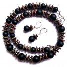 Necklace Set Earrings Women Natural Gemstone Black Onyx Gray Red Czech Choker