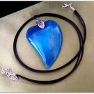 Pendant Natural Agate Gemstone Blue Heart Women Necklace Leather Cord 1366