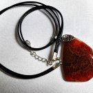 Pendant Women Necklace Leather Cord Natural Gemstone Agate Brown Bead 1394