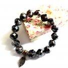 Braclet Set Earrings Black Crystal Beads Women Double Stretch Elastic Wedding Party Jewelry 7024B