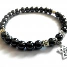 Bracelet Double Stretch Men Magen David Male Elastic Natural Hematite Beads Jewish Religion 4077
