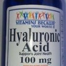 Hyaluronic Acid 100mg 180 Capsules Supports Joint Health Made In USA