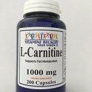 L-Carnitine High Potency 1000mg 200cap Fat Burn 3+Month Supply USA-FDA Facility