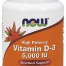 NOW Foods Vitamin D-3 Highest Potency 5000 IU - 120 Softgels - Free Shipping