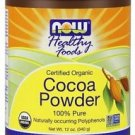 Organic Cocoa Lovers Powder Now Foods 12 oz Powder Non-Alkalized 340g